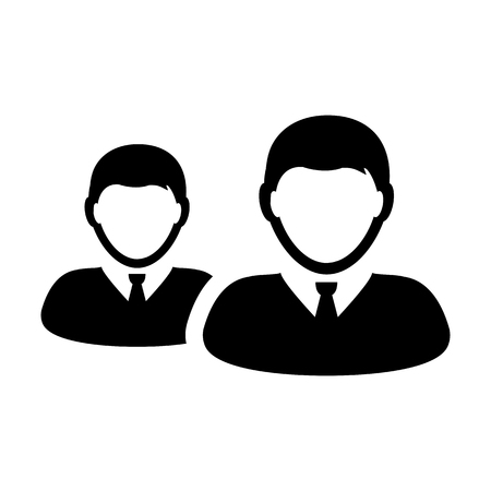 Businessman icon vector male group of persons symbol avatar for managemetn team in flat color glyph pictogram illustration Иллюстрация