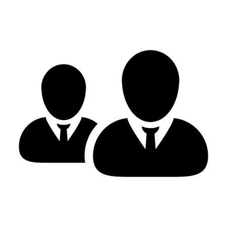 Business people icon vector male group of persons symbol avatar for business management team in flat color glyph pictogram illustration Vettoriali