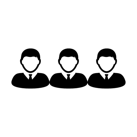 Network icon vector male group of persons symbol avatar for business management team in flat color glyph pictogram illustration Illustration