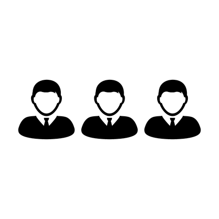 Hr icon vector male group of persons symbol avatar for business management team in flat color glyph pictogram illustration