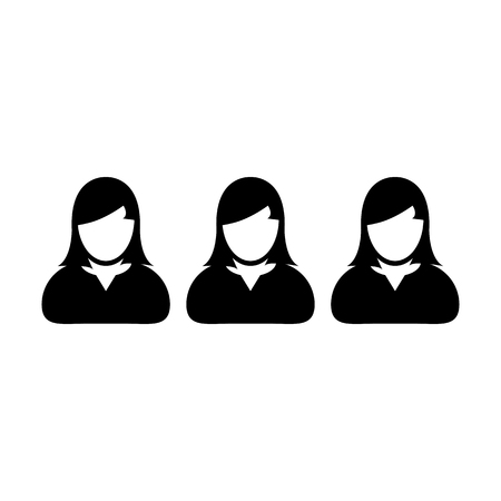 Teamwork icon vector female group of persons symbol avatar for business management team in flat color glyph pictogram illustration Vectores