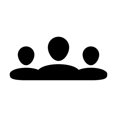 People icon vector male group of persons symbol avatar for business management team in flat color glyph pictogram illustration Illustration