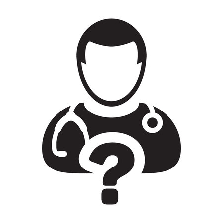 Ask a doctor icon vector male person profile avatar with question symbol for medical consultation in glyph pictogram illustration