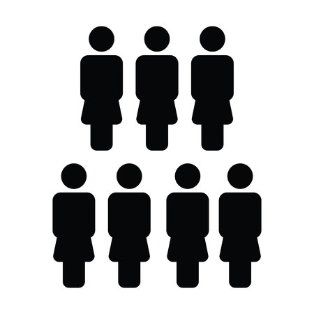 Businesswoman icon vector female group of persons symbol avatar for management team in flat color glyph pictogram illustration