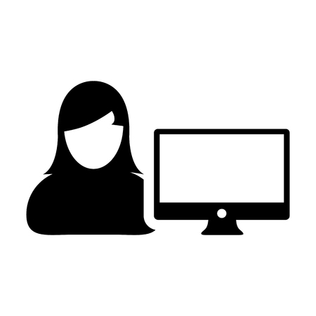 Office icon vector female person user with computer monitor screen avatar in flat color in Glyph Pictogram Symbol illustration Illustration