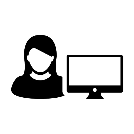 Person icon vector female user with computer monitor screen avatar in flat color in Glyph Pictogram Symbol illustration