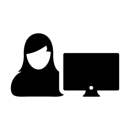 Employee icon vector female person user with computer monitor screen avatar in flat color in Glyph Pictogram Symbol illustration Illustration