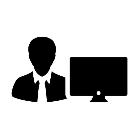 Admin icon vector male person user with computer monitor screen avatar in flat color in Glyph Pictogram Symbol illustration Illustration