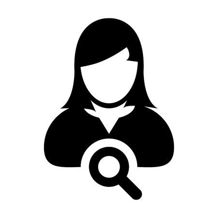 Search icon vector female user person profile avatar symbol with magnifying glass in flat color glyph pictogram illustration