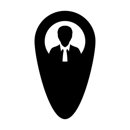 Destination icon male user person profile avatar with location map marker pin symbol in flat color glyph pictogram illustration