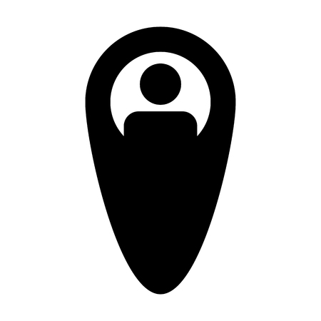 Client icon vector male user person profile avatar with location map marker pin symbol in flat color glyph pictogram illustration