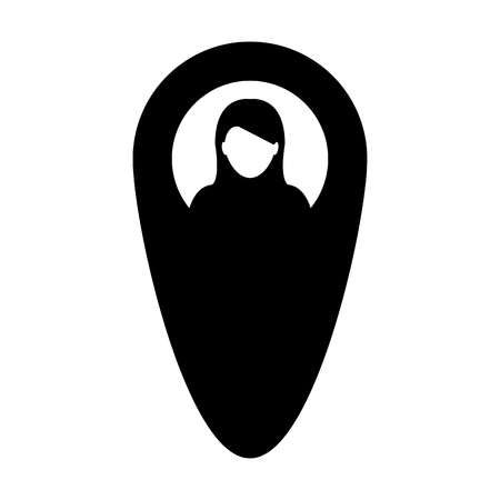 Marker icon vector female user person profile avatar with location map pin symbol in flat color glyph pictogram illustration