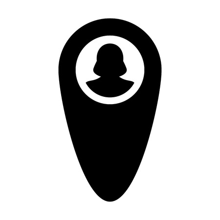 Tracking icon vector female user person profile avatar with location map marker pin symbol in flat color glyph pictogram illustration
