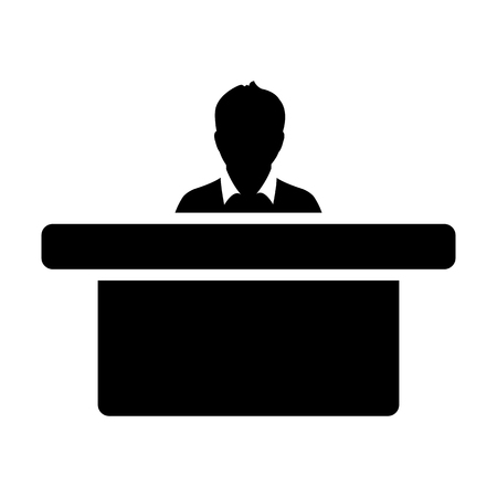 Student icon vector male person avatar symbol with table in class room in flat color glyph pictogram illustration Illustration