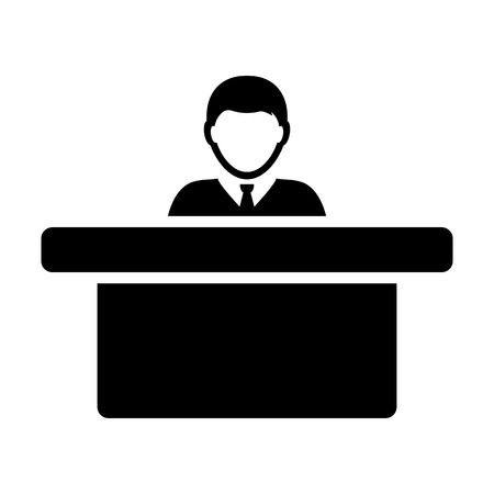 Worker icon vector male person avatar symbol with table for office occupation in flat color glyph pictogram illustration