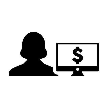 Money icon vector female user person profile avatar with computer monitor and dollar sign currency symbol for banking and finance business in flat color glyph pictogram illustration Illustration
