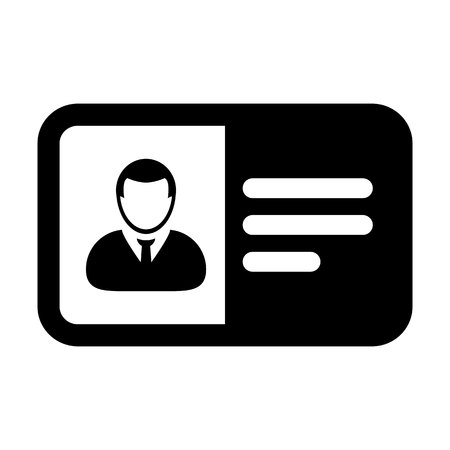 Employee icon vector male user person profile avatar symbol with identity card in flat color glyph pictogram illustration