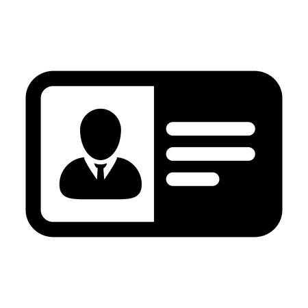 Photo icon vector male user person profile avatar symbol with identity card in flat color glyph pictogram illustration Illustration