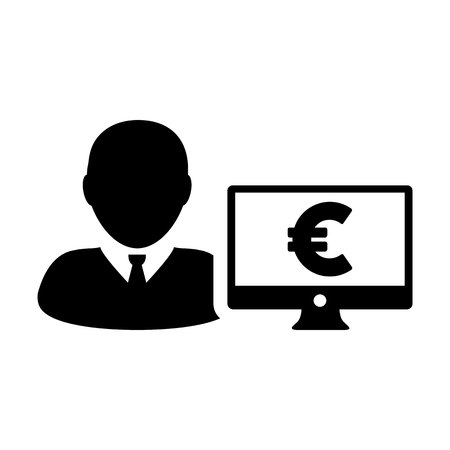 Sales icon vector male user person profile avatar with computer monitor and euro sign currency money symbol for banking and finance business in flat color glyph pictogram illustration