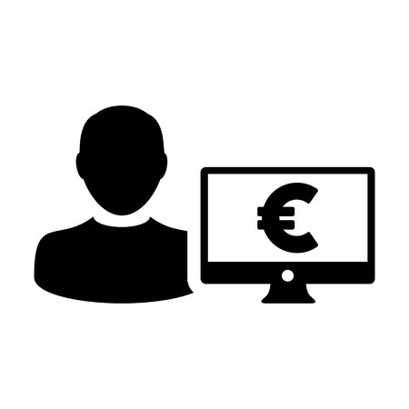 Insurance icon vector male user person profile avatar with computer monitor and euro sign currency money symbol for banking and finance business in flat color glyph pictogram illustration