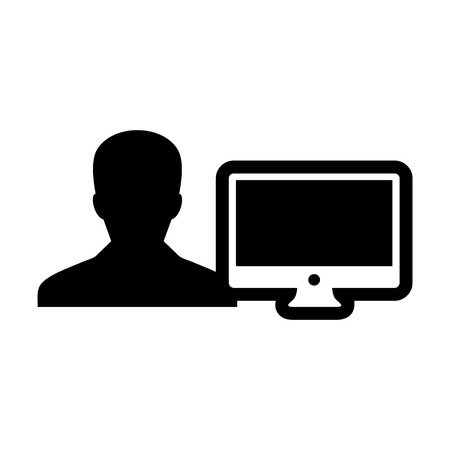 Engineer icon vector male person user with computer monitor screen avatar in flat color in Glyph Pictogram Symbol illustration