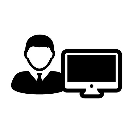 Monitor icon vector male person user with computer screen avatar in flat color in Glyph Pictogram Symbol illustration