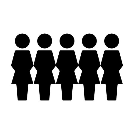 People icon vector female group of persons symbol avatar for business management team in flat color glyph pictogram illustration