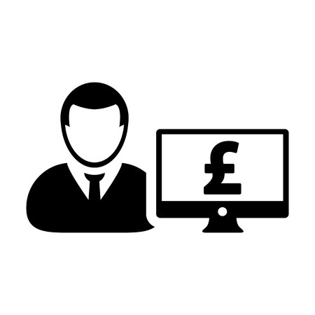 Pound sign icon vector male user person profile avatar with computer monitor currency money symbol for banking and finance business in flat color glyph pictogram illustration Illustration