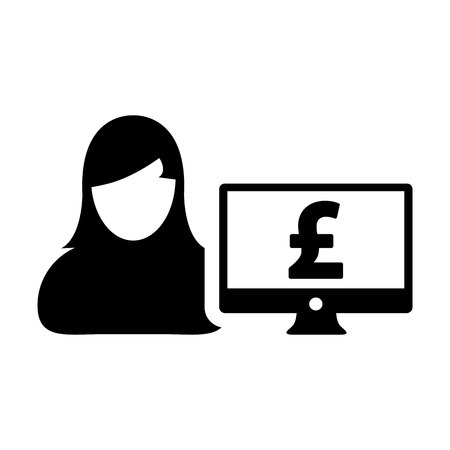Money icon vector female user person profile avatar with computer monitor and pound sign currency symbol for banking and finance business in flat color glyph pictogram illustration