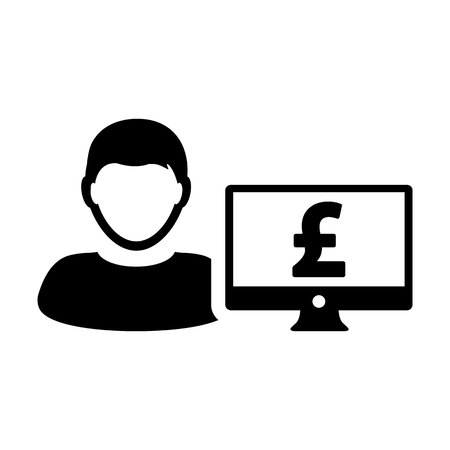 Revenue icon vector male user person profile avatar with computer monitor and pound sign currency money symbol for banking and finance business in flat color glyph pictogram illustration Illustration