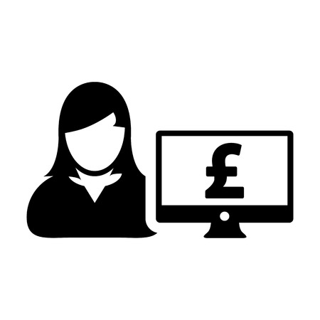 User icon vector female person avatar with computer monitor screen and pound sign in flat color in Glyph Pictogram Symbol illustration