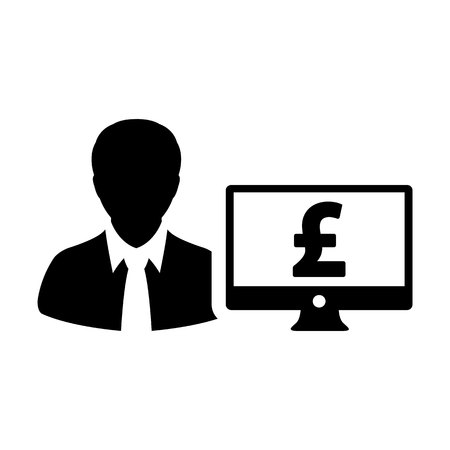 Finance icon vector male user person profile avatar with computer monitor and pound sign currency money symbol for banking and business in flat color glyph pictogram illustration Illustration