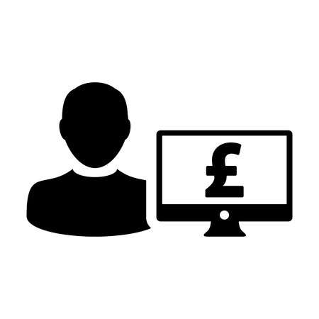 Profit icon vector male user person profile avatar with computer monitor and pound sign currency money symbol for banking and finance business in flat color glyph pictogram illustration