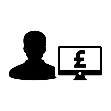 Business icon vector male user person profile avatar with computer monitor and pound sign currency money symbol for banking and finance business in flat color glyph pictogram illustration