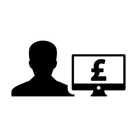 Insurance icon vector male user person profile avatar with computer monitor and pound sign currency money symbol for banking and finance business in flat color glyph pictogram illustration