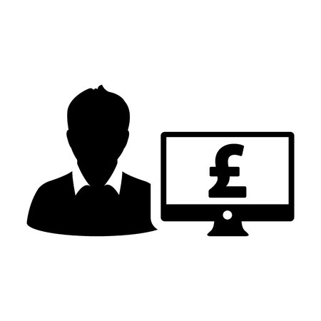 Loan icon vector male user person profile avatar with computer monitor and pound sign currency money symbol for banking and finance business in flat color glyph pictogram illustration Illustration