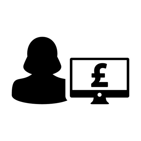 Currency icon vector female user person profile avatar with computer monitor and pound money symbol for banking and finance business in flat color glyph pictogram illustration