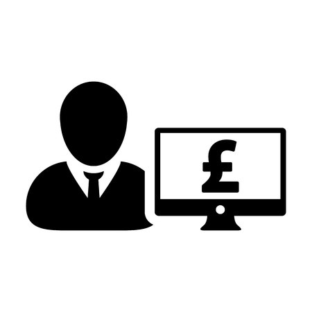 Bank icon vector male user person profile avatar with computer monitor and pound sign currency money symbol for banking and finance business in flat color glyph pictogram illustration Illustration