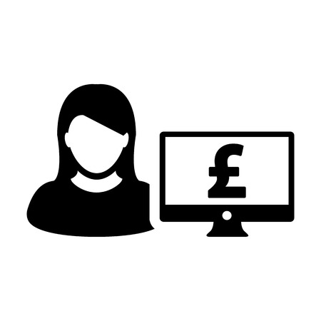 Person icon vector female user avatar with computer monitor screen and pound sign in flat color in Glyph Pictogram Symbol illustration