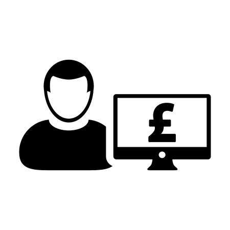 Income icon vector male user person profile avatar with computer monitor and pound sign currency money symbol for banking and finance business in flat color glyph pictogram illustration Illustration