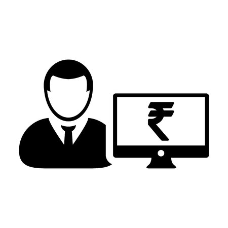 User icon vector male person avatar with computer monitor screen and Rupee sign in flat color in Glyph Pictogram Symbol illustration Illustration