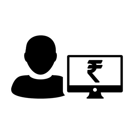Market icon vector male user person profile avatar with computer monitor and Rupee sign currency money symbol for banking and finance business in flat  color glyph pictogram illustration