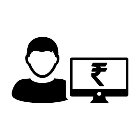 Person icon vector male user avatar with computer monitor screen and Rupee sign in flat color in Glyph Pictogram Symbol illustration Illustration