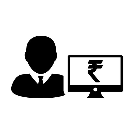 Stock market icon vector male user person profile avatar with computer monitor and Rupee sign currency money symbol for banking and finance business in  flat color glyph pictogram illustration