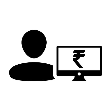 Finance icon vector male user person profile avatar with computer monitor and Rupee sign currency money symbol for banking and business in flat color  glyph pictogram illustration