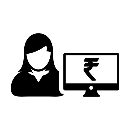 User icon vector female person avatar with computer monitor screen and Rupee sign in flat color in Glyph Pictogram Symbol illustration