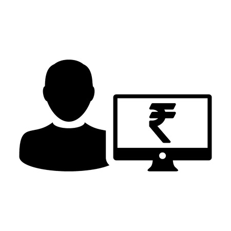 Rupee sign icon vector male user person profile avatar with computer monitor currency money symbol for banking and finance business in flat color glyph  pictogram illustration