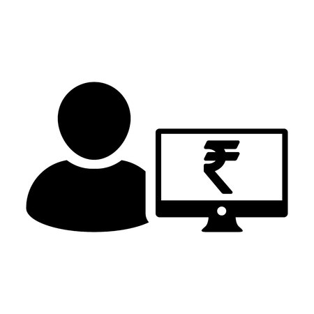 Payment icon vector male user person profile avatar with computer monitor and Rupee sign currency money symbol for banking and finance business in flat  color glyph pictogram illustration