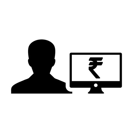 Cash icon vector male user person profile avatar with computer monitor and Rupee sign currency money symbol for banking and finance business in flat color  glyph pictogram illustration Illustration