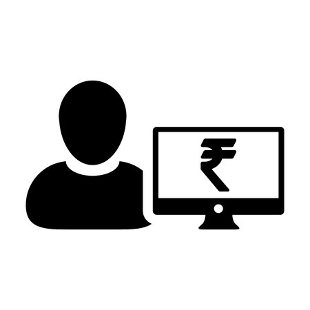 Loan icon vector male user person profile avatar with computer monitor and Rupee sign currency money symbol for banking and finance business in flat color  glyph pictogram illustration